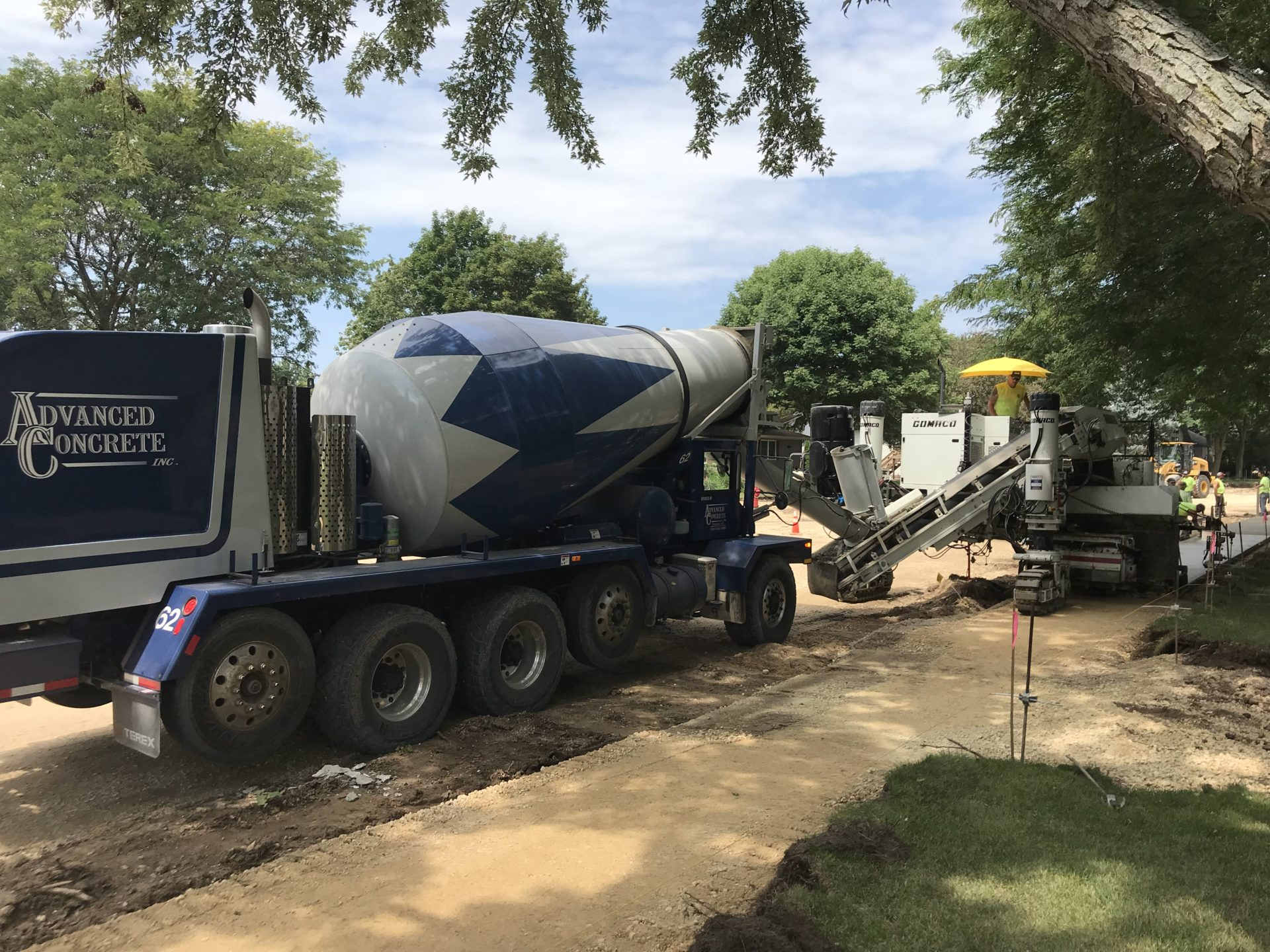 mixer pouring colored concrete